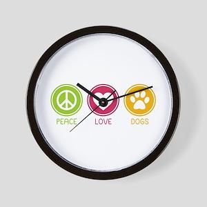 Peace - Love - Dogs 1 Wall Clock