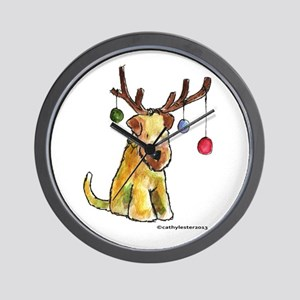 Wheaten terrier with Christmas Antlers Wall Clock