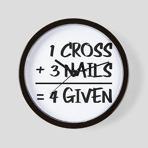 One Cross Plus Three Nails Equals Forgi Wall Clock
