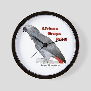 African Greys Rule! Wall Clock