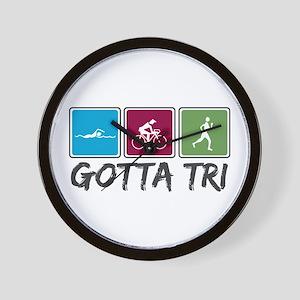 Gotta Tri (Triathlon) Wall Clock