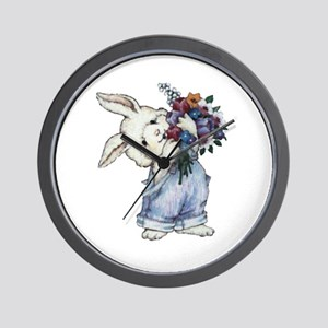 Bunny with Flowers Wall Clock