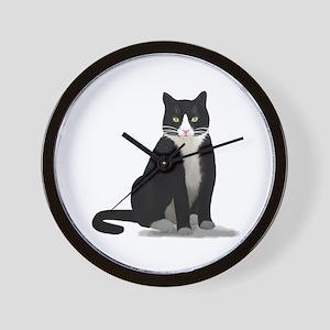 Black and White Tuxedo Cat Wall Clock