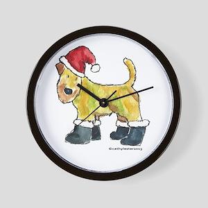 Wheaten terrier playing Santa Wall Clock