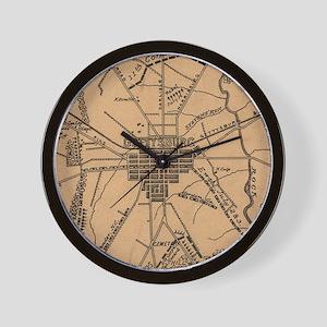 Vintage Map of The Gettysburg Battlefie Wall Clock
