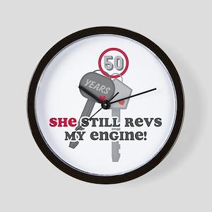 She Revs My Engine 50 Wall Clock