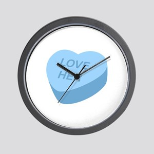 Love Her Candy Heart Wall Clock
