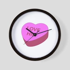 Love Him Candy Heart Wall Clock