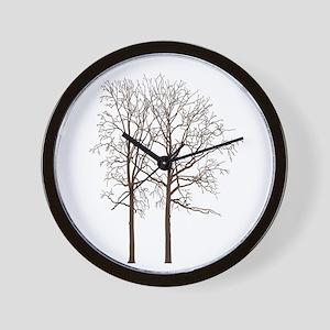 Brown Trees Wall Clock