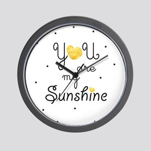You are my sunshine - gold Wall Clock