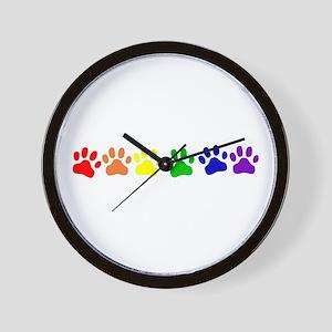 Rainbow Paws Wall Clock