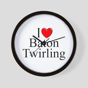 """I Love (Heart) Baton Twirling"" Wall Clock"