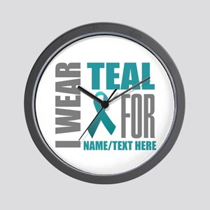 Teal Awareness Ribbon Customized Wall Clock