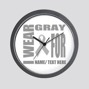 Gray Awareness Ribbon Customized Wall Clock