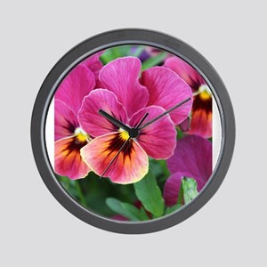 European Garden Pink Pansy Flower Wall Clock