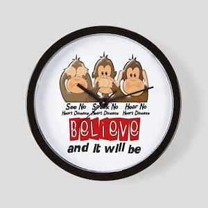 See Speak Hear No Heart Disease Wall Clock