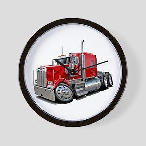 Kenworth W900 Red Truck Wall Clock