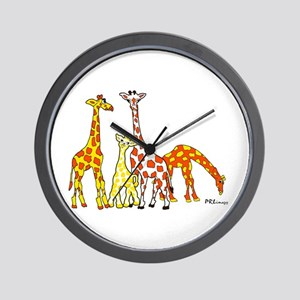 Giraffe Family Portrait In Oranges And Wall Clock
