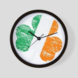 Vintage Distressed Irish Flag Shamrock Wall Clock
