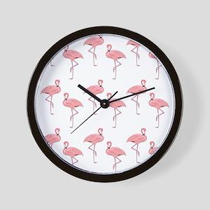 Pink Flamingos Classic Pattern Wall Clock