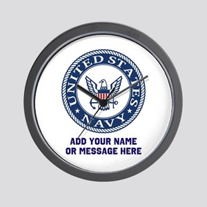 US Navy Symbol Personalized Wall Clock