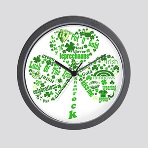 St Paddys Day Shamrock Wall Clock