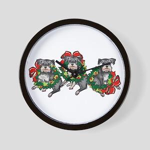 Schnazuers in Wreaths Wall Clock