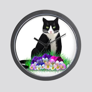 Tuxedo Cat and Pansies Wall Clock