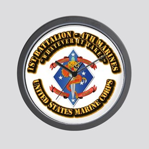 1st Bn - 4th Marines with Text Wall Clock