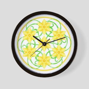 Daffodils Mandala Wall Clock