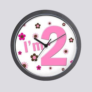 """""""I'm 2"""" Pink & Brown Flowers Wall Clock"""