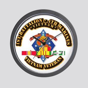 1st Bn - 4th Marines w VN SVC Ribbon Wall Clock
