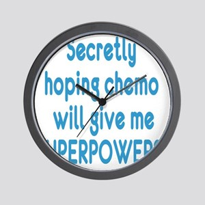 Funny Cancer Chemo Superpowers Blue Lt Wall Clock