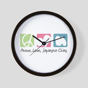 Peace, Love, Japanese Chins Wall Clock