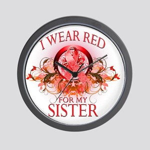 I Wear Red for my Sister (floral) Wall Clock