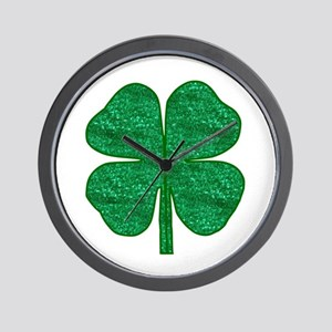 glitter shamrock Wall Clock