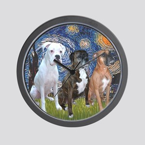T-Starry Night - 3 Boxers Wall Clock
