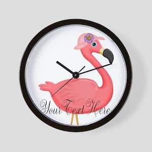 Pink Flamingo Lady Wall Clock