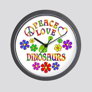 Peace Love Dinosaurs Wall Clock