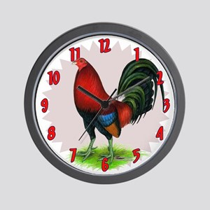 Red Game Cock Wall Clock