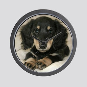 Long Haired Puppy Wall Clock