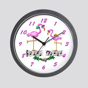 Dancing Pink Flamingos - Wall Clock