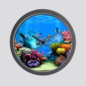 Tropical Fish Aquarium with Bright Colo Wall Clock