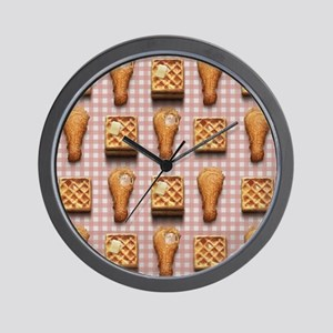 gingham chicken waffles Wall Clock