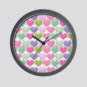 Gingham Hearts Pastel Pattern Wall Clock