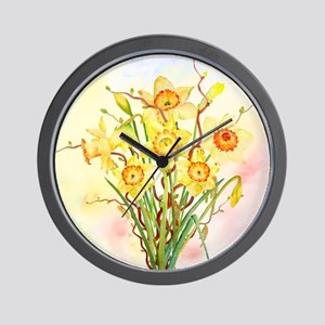 Watercolor Daffodils Yellow Spring Flow Wall Clock