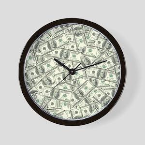 100 Dollar Bill Money Pattern Wall Clock