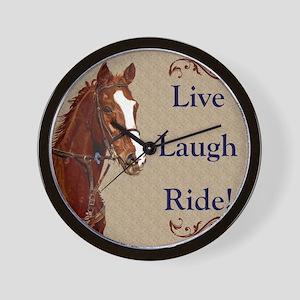 Live! Laugh! Ride! Horse Wall Clock