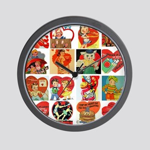 vintage valentines day cards feb Wall Clock