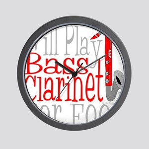Will Play Bass Clarinet dark Wall Clock